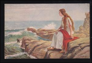 Künstler-Ansichtskarte R. Herthel: Gudrun, gelaufen BRESLAU 5.9.1919