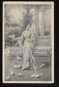 Künstler-Ansichtskarte J. Kränzle: Liebe Gäste / Frau mit Tauben, gelaufen 1919