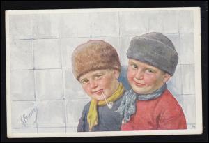 Künstler-Ansichtskarte Gemälde von Karl Freitag: Zwei Jungen, Zittau um 1915