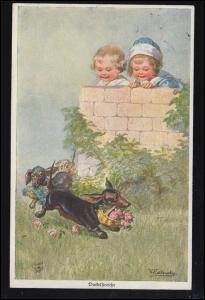 Hunde-Ansichtskarte Primus-Postkarte: Dackelstreiche, gelaufen COSWIG 1920