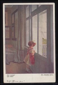 Wiener Künstler-Postkarte Emanuel Baschny: Wer kommt? gelaufen um 1922