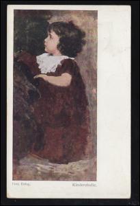 Wiener Künstler-Postkarte Prof. Alois Delug: Kinderstudie, gelaufen 1911