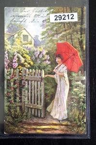 Künstler-Ansichtskarte Gemälde von H. Schwarz: An der Gartentür, Feldpost 1917
