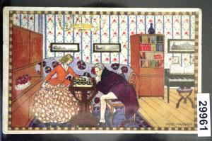 Künstler-Ansichtskarte Gemälde von Mitzi Marbach: Schach-Spiel, gelaufen 1917