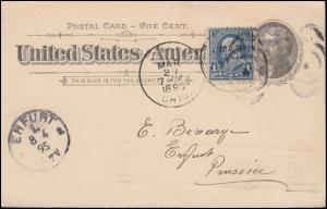 USA Postkarte Jefferson mit Zusatzfr. aus SALEM 27.3.1895 nach ERFURT 8.4.95