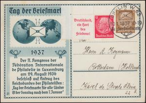 PP 122 Tag der Briefmarke mit Hindenburg-ZD W 67 Eckrandstück SSt BERLIN 10.1.37