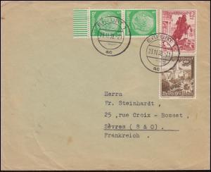 WHW-Zusammendruck S 249 Landschaft mit Blumen in MiF auf Brief ERFURT 23.11.38