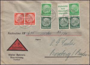 Hindenburg-ZD W 88a mit passender Zusatzfr. auf NN-Brief BRAUNSCHWEIG 2.12.1940