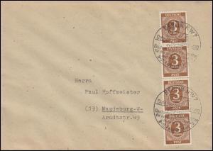 913 Ziffer 3 Pf. MeF senkr. 4er-Streifen Brief SSt BERLIN Gewerkschaft 11.2.1946