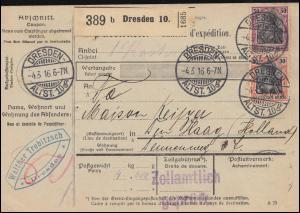 89+91 Germania-Frankatur auf Paketkarte DRESDEN-ALTSTADT 4.3.1916 nach Holland