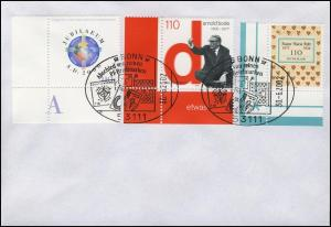 Euro-Einführung: Abschied von Pf-Briefmarken, passende Marken im SSt Bonn