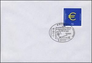 Euro-Einführung: Nur noch Euro-Marken mit MiNR. 2236, SST Bonn 1.7.2002