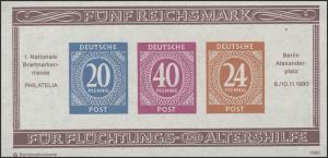 APHV Philatelia Köln Ziffern 20/40/24 B UNgezähnt 1990