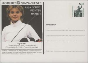 Sporthilfe-Ganzsache Nr.3 Fechten Anja Fichtel **
