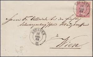 Norddeutscher Bund 16 Ziffer EF auf Brief DRESDEN 16.12.1869 nach Wien