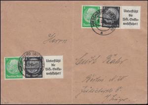 Hindenburg-ZD W 90 zweimal aus Einheitgeberstreifen auf Brief HIRSCHBERG 5.3.43