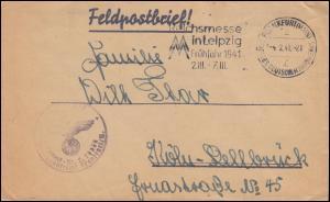 Feldpost Briefstempel L 18658 Brief SSt FRANKFURT / MAIN Leipziger Messe 4.2.41