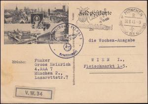 Bild-Feldpostkarte München BS Nachrichten-Ersatz-Abt. 7 - MÜNCHEN 30.8.43