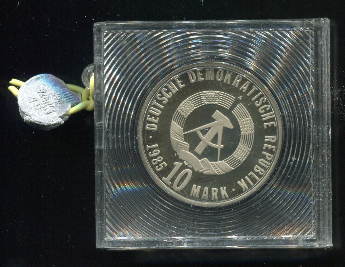 DDR Gedenkmünze Befreiung Faschismus 1985, Spiegelglanz PP in verplombter Kapsel 1