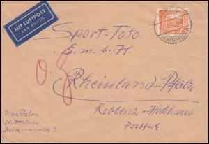 50 Berliner Bauten 25 Pf. als EF auf LP-Brief BERLIN-LICHTERFELDE 22.10.1953