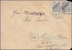5 Schwarzaufdruck 12 Pf als MeF auf Brief BERLIN-NEUKÖLLN 15.12.48 nach Haslach