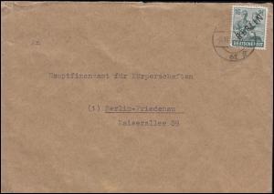 6 Schwarzaufdruck 16 Pf auf Ortsbrief BERLIN 61g - 6.10.48 nach Berlin Friedenau