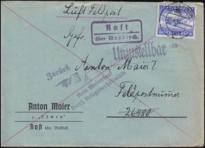 Landpost Rast über MESSKIRCH 9.4.1943 Feldpostbrief Kein Weiterlauf Zurück