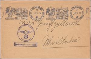 Frei durch Ablösung Hauptzollamt Nürnberg Brief Werbe-O Reichsparteitag 6.11.37