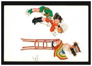 Künstler-Ansichtskarte Chicky Spark: Kinder beim Spielen, ungebraucht