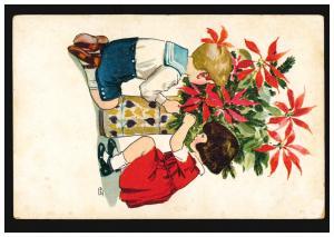 Künstler-Ansichtskarte Eneret: Kinder bei der Blumenpflege, ungebraucht