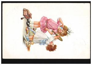 Künstler-Ansichtskarte Kinder: Zwei Mädchen beim Schminken, STRASSKIRCHEN 1917