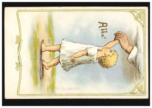 Künstler-Ansichtskarte Olga Burckhardt: Abba! Kind an der Hand, ungebraucht