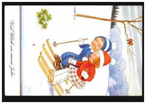 Künstler-Ansichtskarte John Wills: Viel Glück im neuem Jahr, WANGEN 31.12.1938