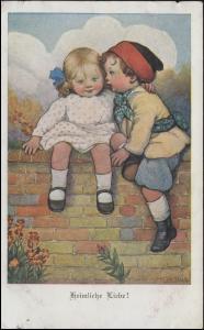 Künstler-AK Kinder: Heimliche Liebe! Verlag M. Munk Wien, BAD NAUHEIM 25.5.1919