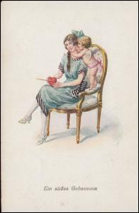 Künstler-Ansichtskarte Ein süßes Geheimnis! Herz mit Pfeil & Engel, beschriftet