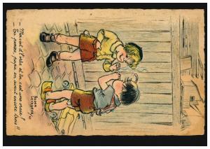 Künstler-Ansichtskarte Roger Lavassur: Zwei Jungen - Erstes Rauchen, fleckig