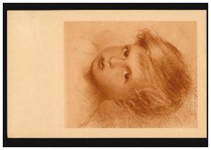 Künstler-Ansichtskarte W. Schachinger: Jungenkopf / Rötelzeichnung, 10.6.1921