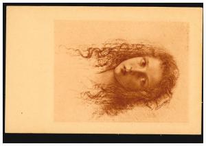 Künstler-Ansichtskarte W. Schachinger Mädchenkopf mit langen Haaren, beschriftet