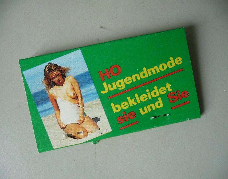 Streichholzbrief HO Jugendmode Erotik / VEB Zündwarenwerk Riesa DDR