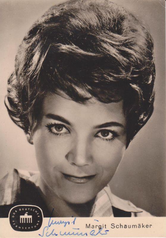 Autogrammkarte Margit Schaumäker / Fernsehsprecherin DDR Foto 1965 signiert