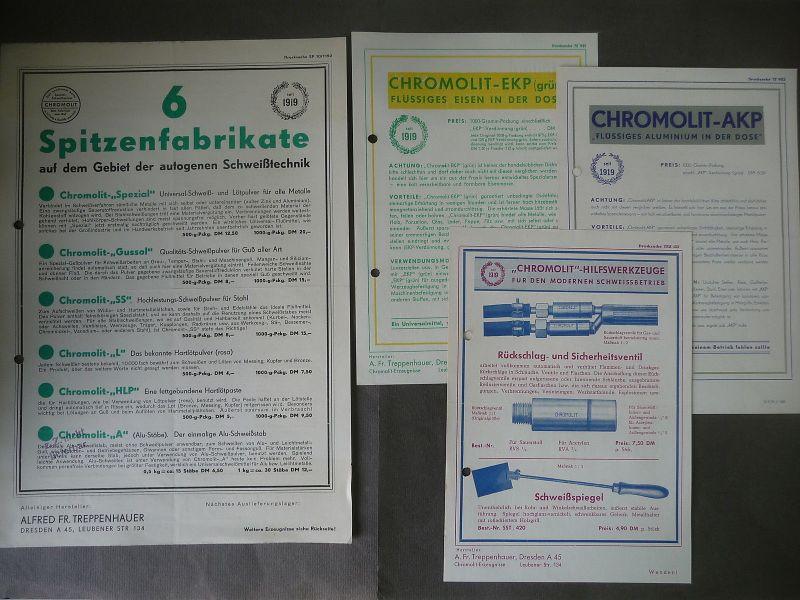 4 Flugblätter Reklame Chromolit Schweißtechnik Schweißpulver / A.F. Treppenhauer