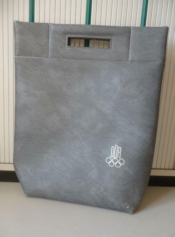 Orig. Tasche Tragetasche DDR Olympia Leder grau