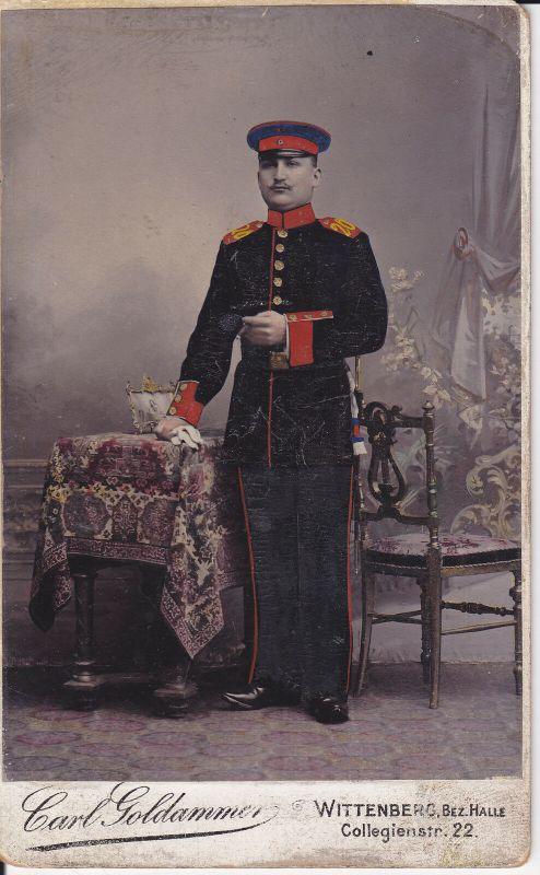 Koloriertes Orig. Foto Kabinettkarte CdV Soldat Uniform Regt. 20 / Wittenberg