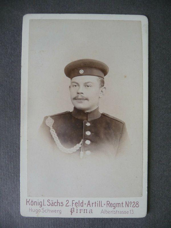 Orig. Foto Kabinettkarte CdV Soldat Porträt / Sachsen Artillerie Regt. 28 Pirna