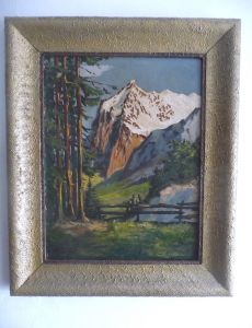 Kleines schönes Gemälde Alpenlandschaft Gebirge Berg / Mielke 1949