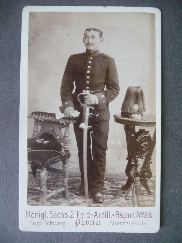 Orig. Foto Kabinettkarte CdV Soldat Uniform / Sachsen Artillerie Regt. 28 Pirna