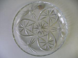 Runde Bleikristall-Platte Schale / Lausitzer Bleikristall Glas DDR