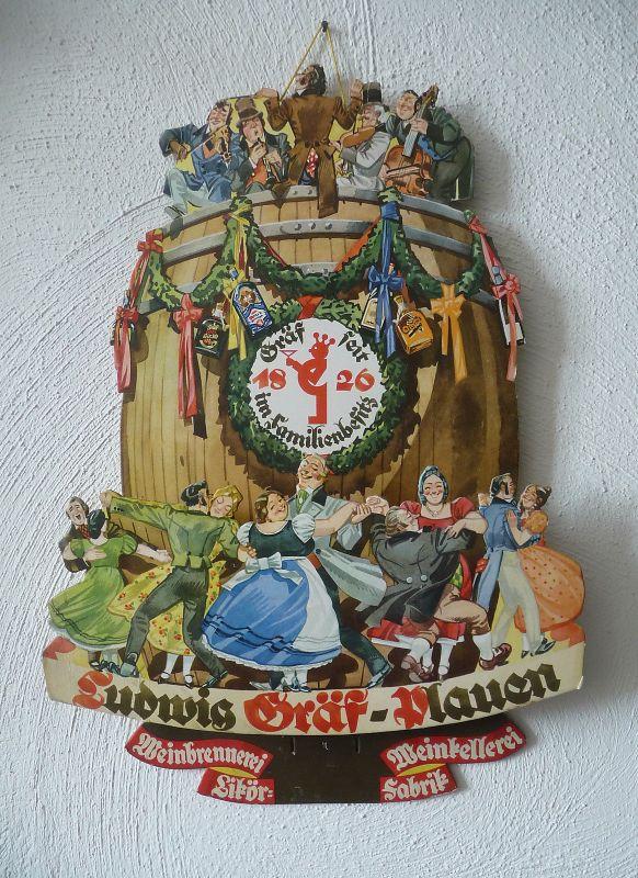 Orig. Pappschild Kalender Reklame Ludwig Gräf Likörfabrik Plauen
