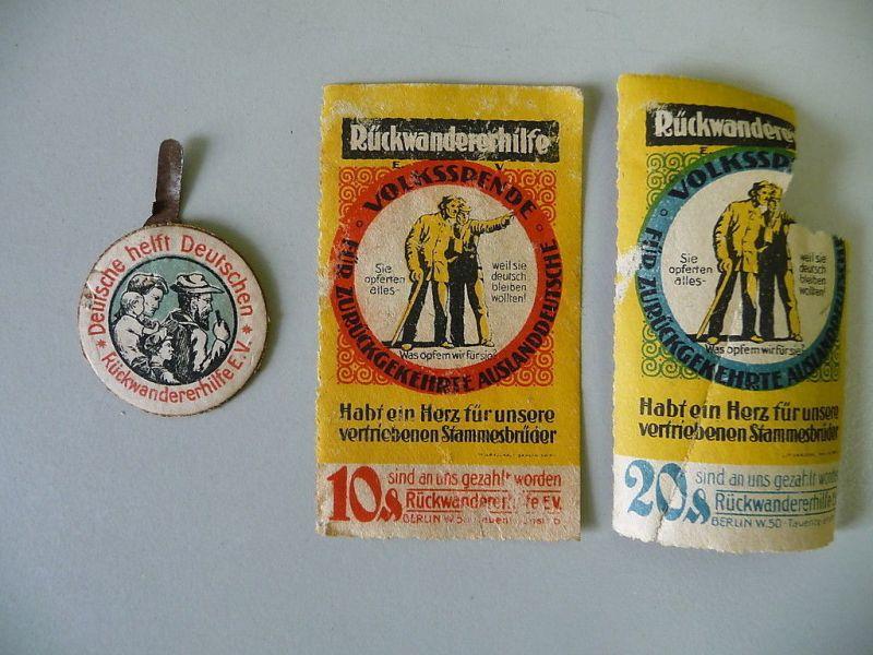 Abzeichen und Reklamemarke Rückwandererhilfe Spende ca. 1935
