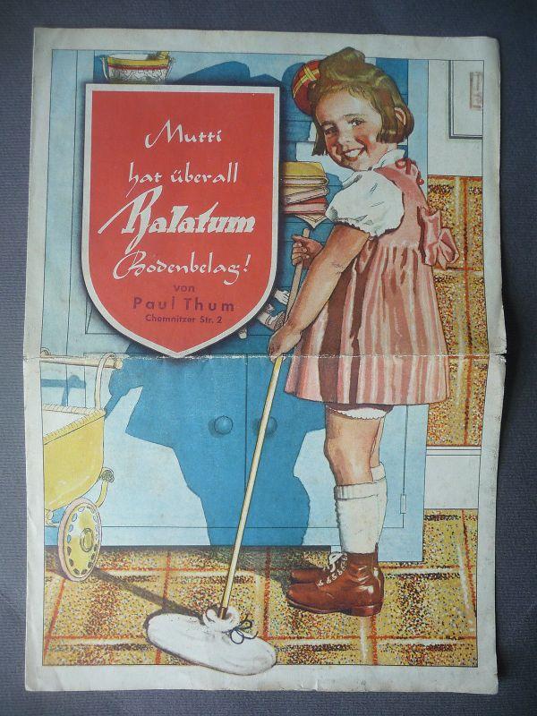 Reklame Prospekt Balatum Bodenbelag Auslegeware / Fa. Paul Thum Chemnitz ca.1930